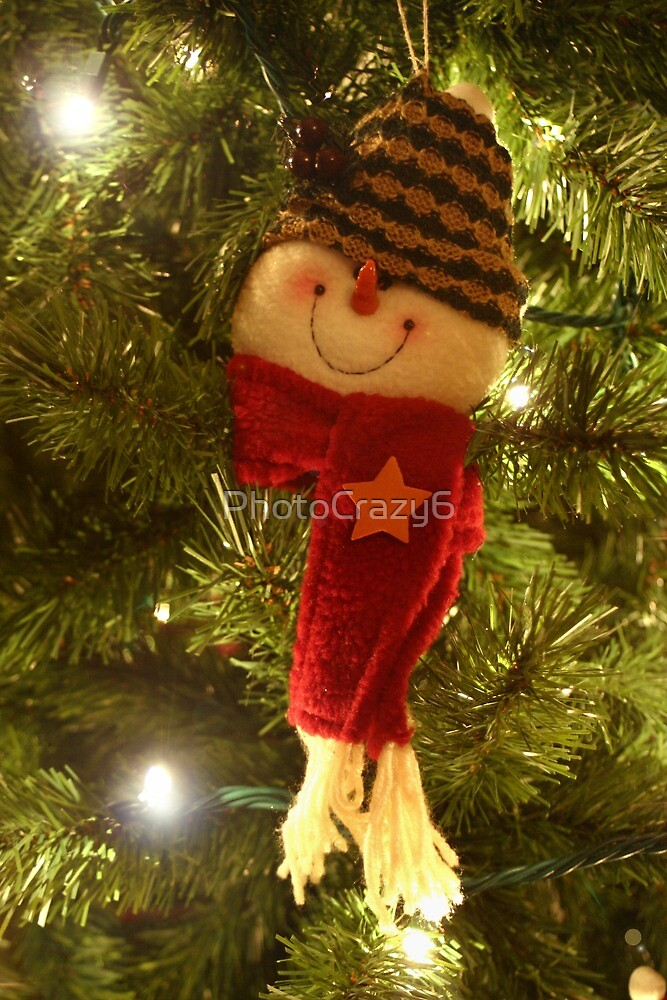 Snowman with a scarf on a Christmas tree by PhotoCrazy6