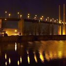 Panorama of the QE II Bridge at night by Terry Senior