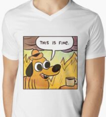 This Is Fine Men's V-Neck T-Shirt