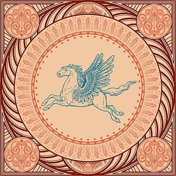 Pegasus Flying Horse-Turquoise-Orange by broadmeadow