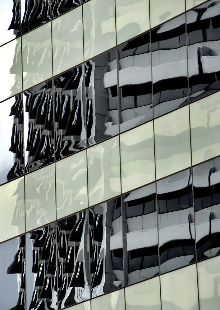 Building reflection with swans 2, Sydney Australia by luvdusty