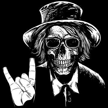 cool skull skeleton devil horns hand sign by peter2art