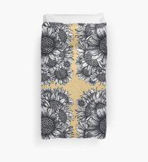 Black, White, Sunflowers, flowers, print,  Duvet Cover