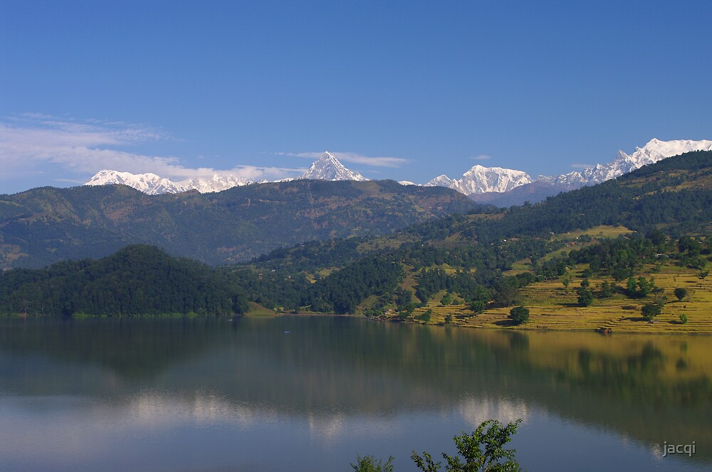 Across Begnas Lake to the Annapurna Range, Himalaya, Nepal by jacqi