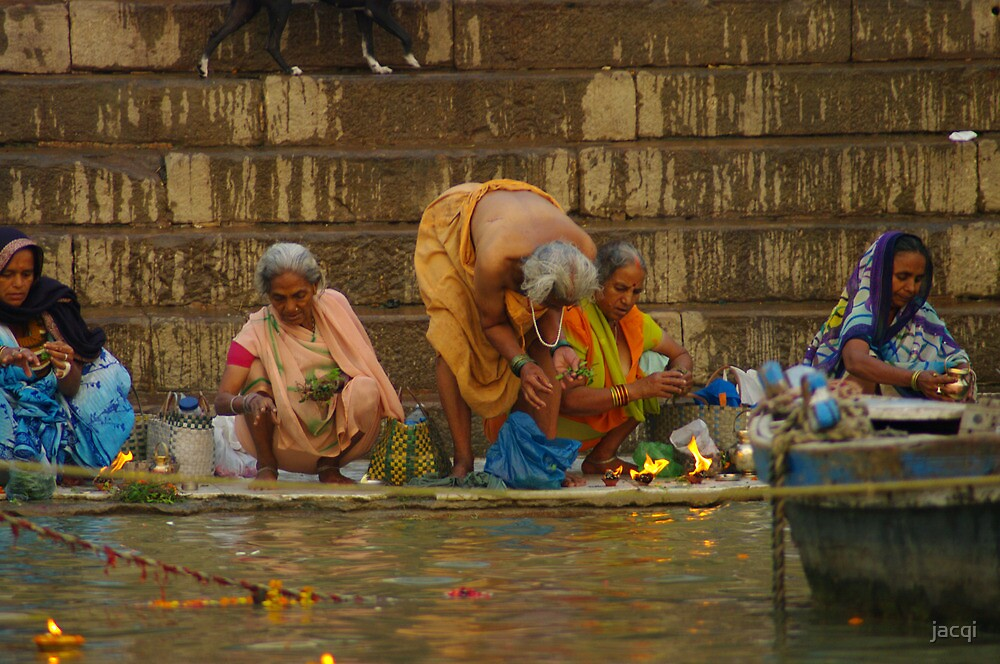 Bathers in the Holy River Ganges by jacqi