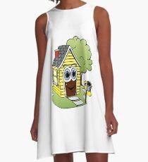 Yellow House Cartoon A-Line Dress