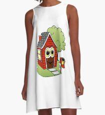 Red House Cartoon A-Line Dress