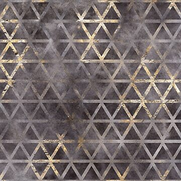 Abstract Geometric Black and Gold Grunge Triangles by TeeVision