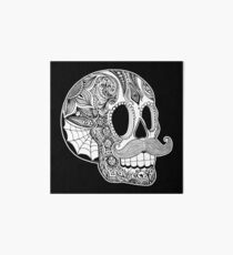Mustache Sugar Skull (Black & White) Art Board