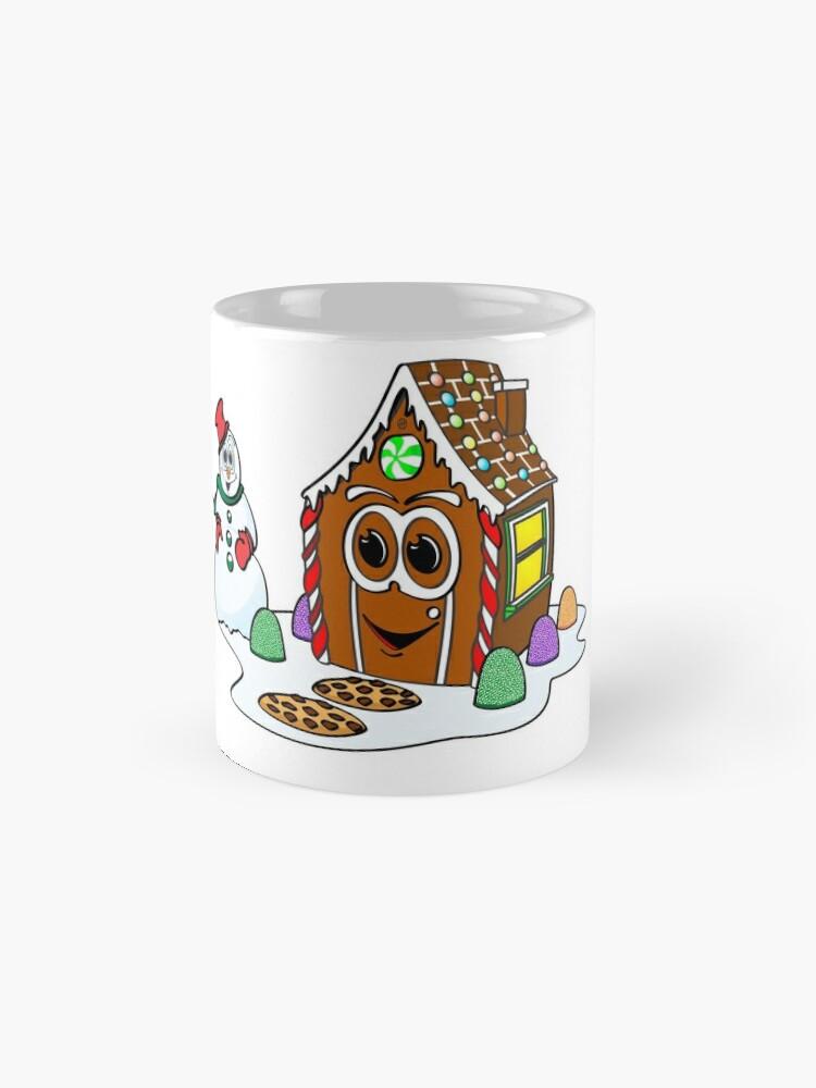 Vista alternativa de Taza Gingerbread House Snowman Cartoon