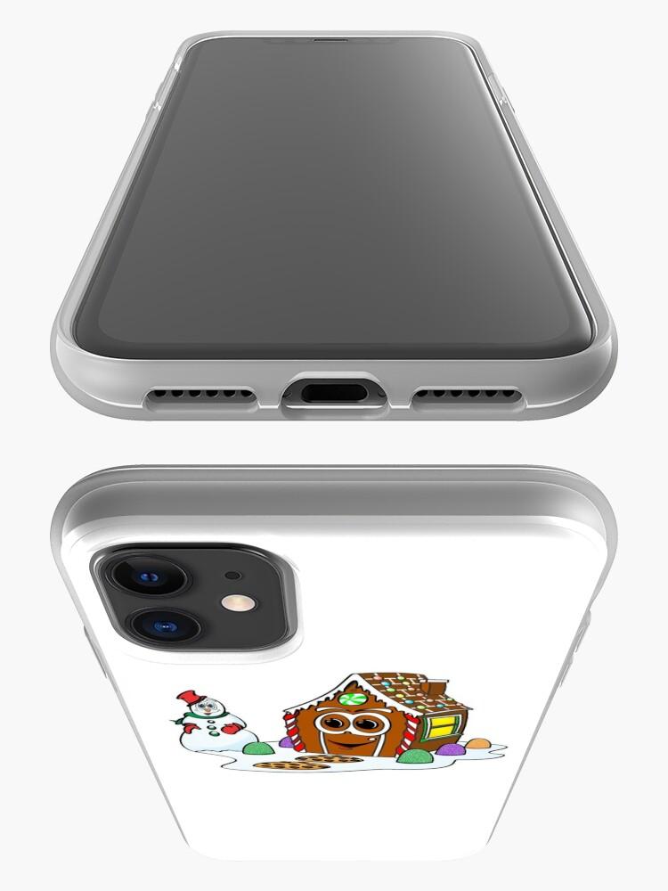Vista alternativa de Funda y vinilo para iPhone Gingerbread House Snowman Cartoon
