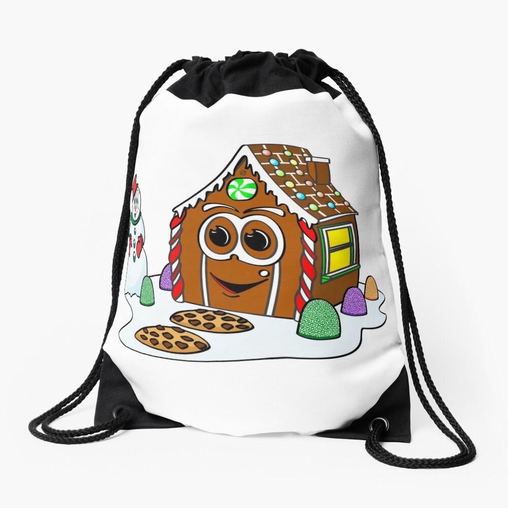Gingerbread House Snowman Cartoon Mochila saco