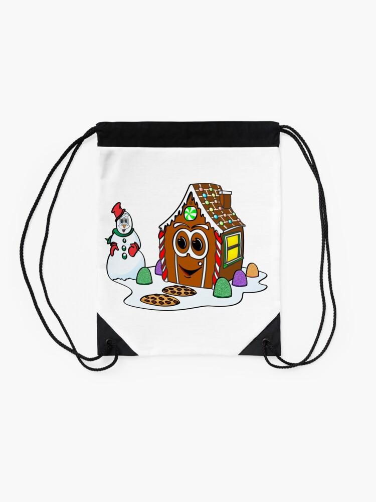 Vista alternativa de Mochila saco Gingerbread House Snowman Cartoon