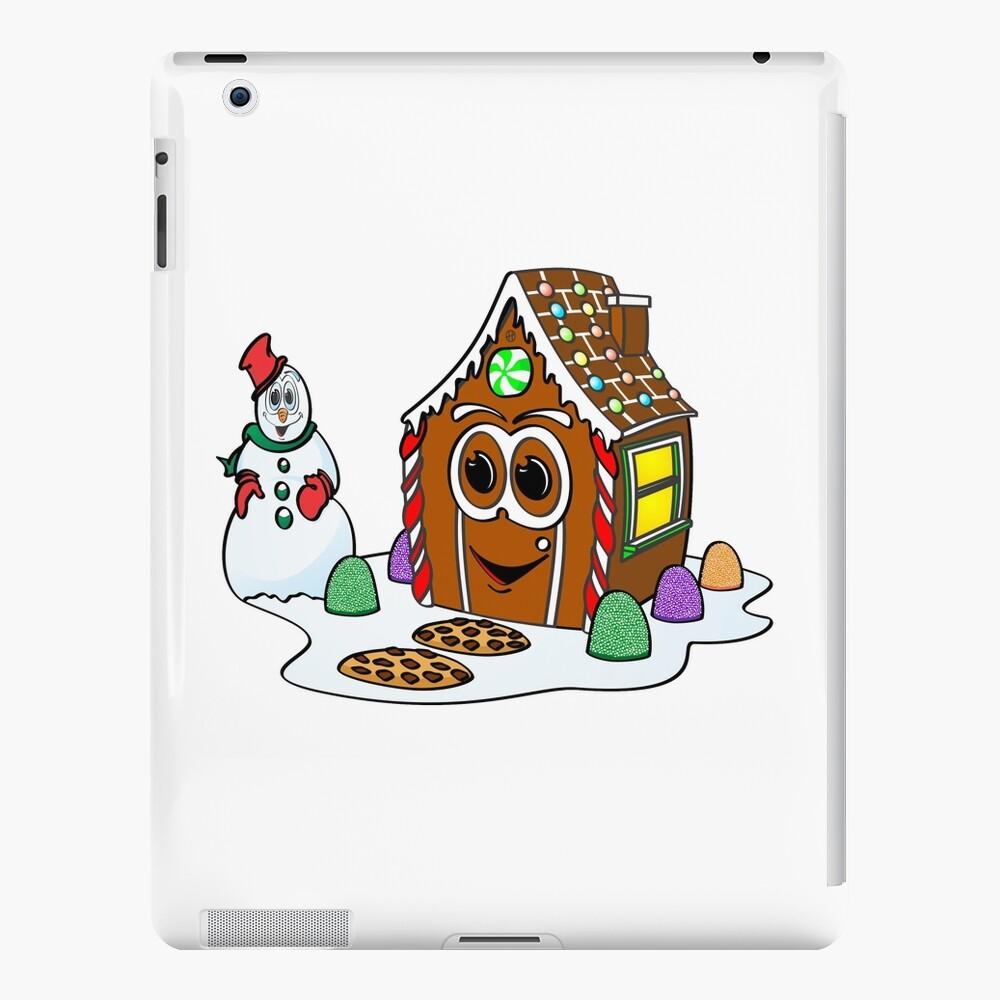 Gingerbread House Snowman Cartoon Funda y vinilo para iPad