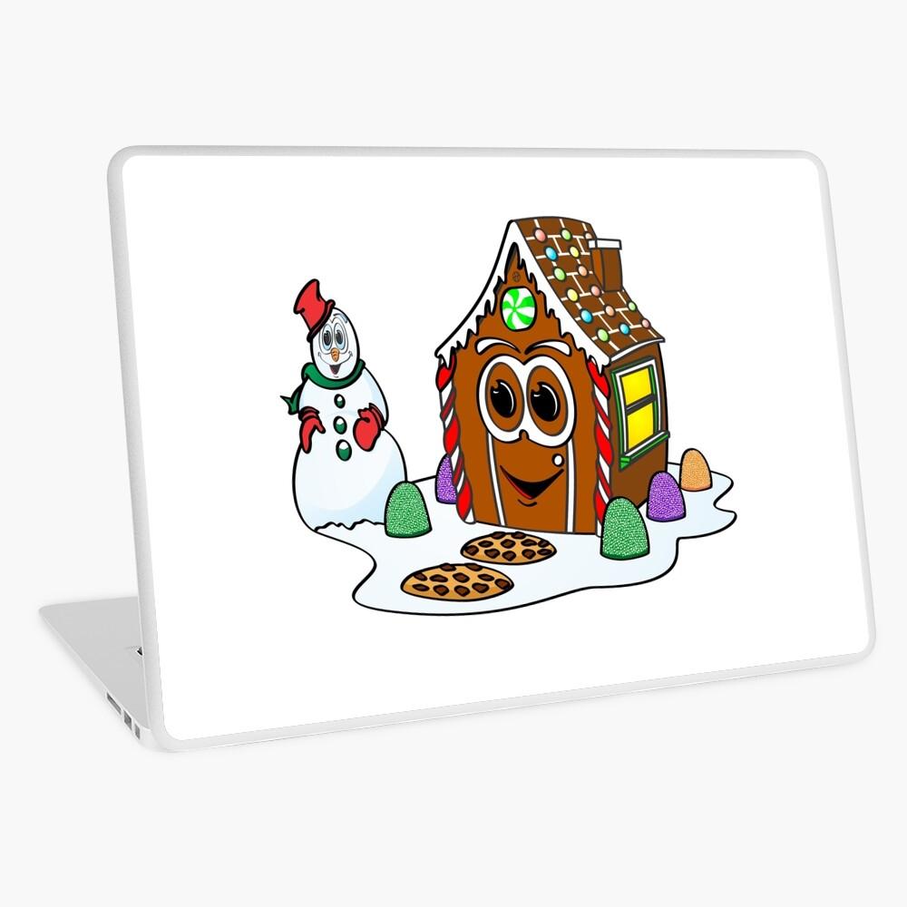 Gingerbread House Snowman Cartoon Vinilo para portátil