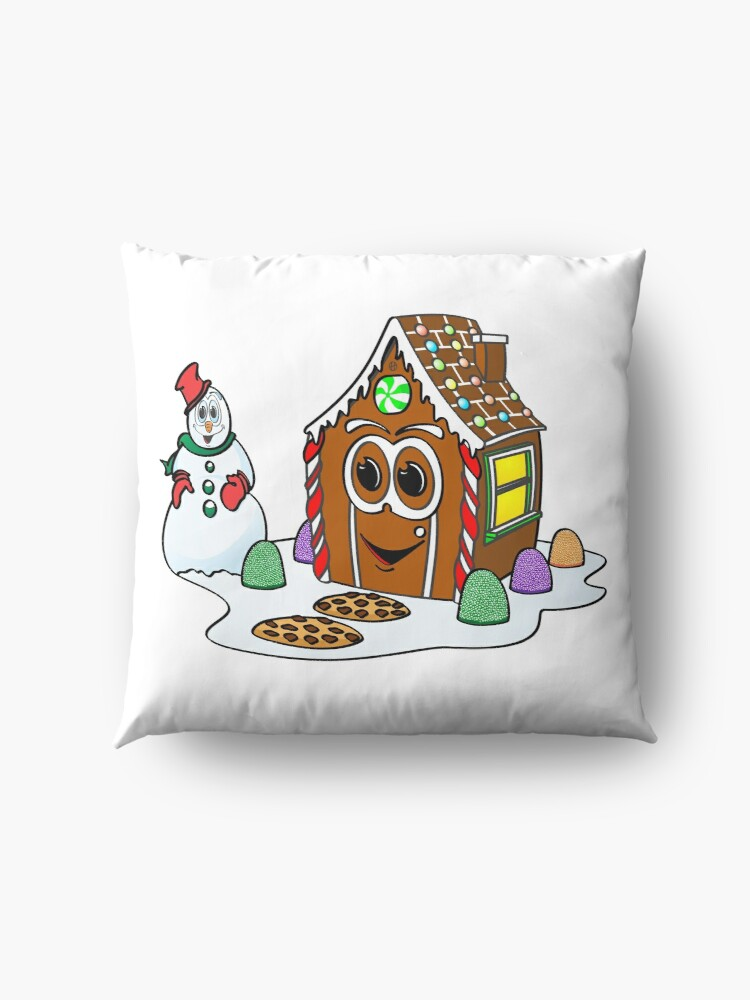 Vista alternativa de Cojines de suelo Gingerbread House Snowman Cartoon