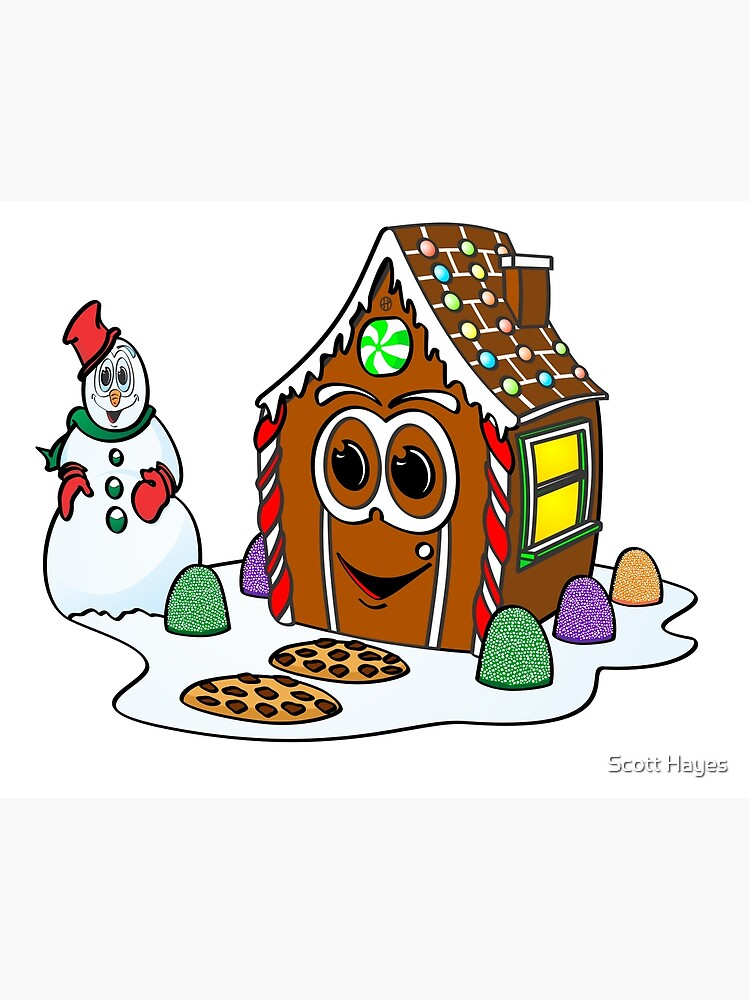 Gingerbread House Snowman Cartoon de Graphxpro