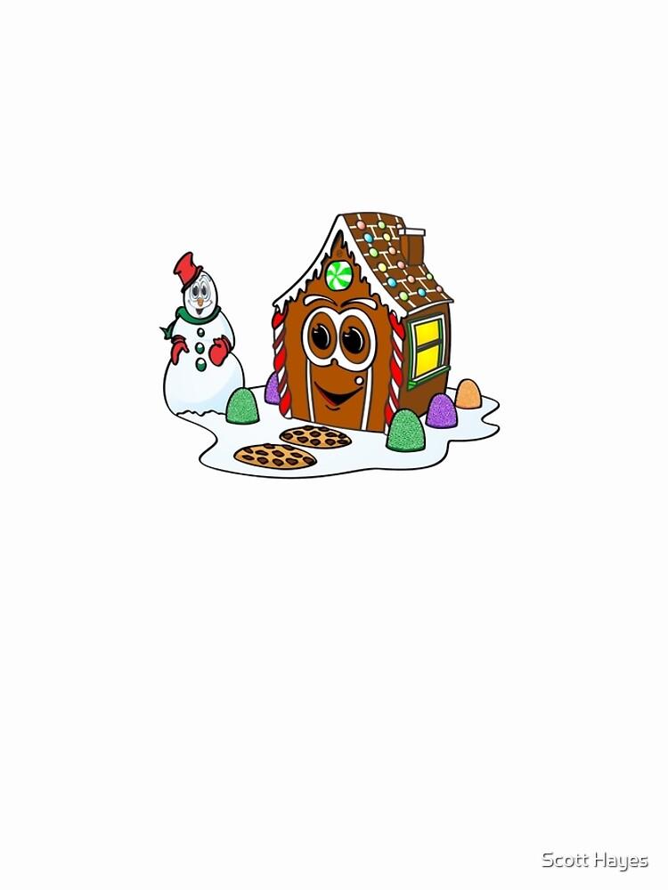 Gingerbread House Snowman Cartoon de Graphxpro