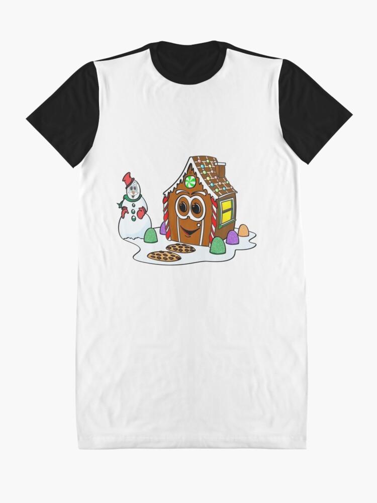 Vista alternativa de Vestido camiseta Gingerbread House Snowman Cartoon