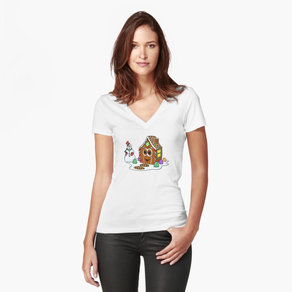 Gingerbread House Snowman Cartoon Camiseta entallada de cuello en V