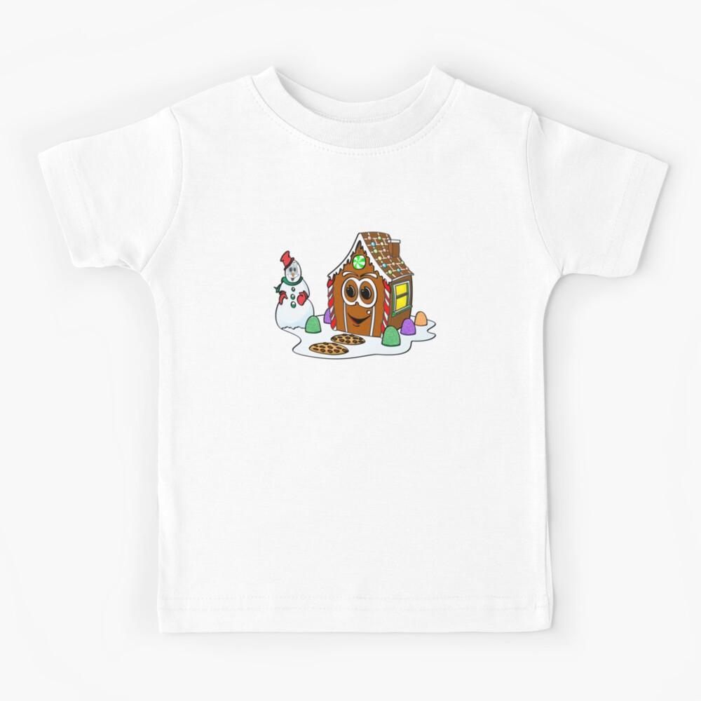 Gingerbread House Snowman Cartoon Camiseta para niños