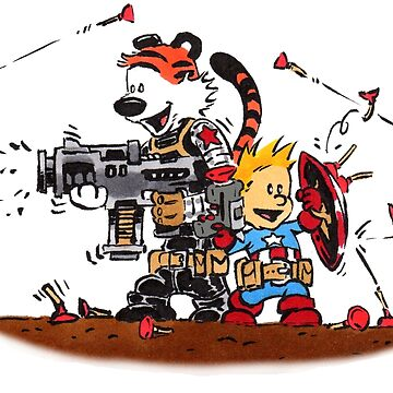 Calvin and Hobbes Inspired Captain and Soldier Parody by Sketchbooks