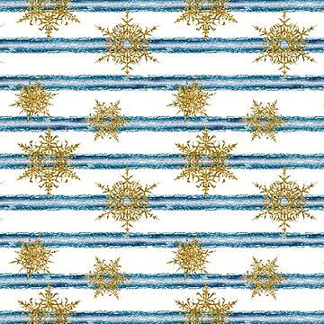 Gold snowflakes on blue and white stripes. by marinaklykva