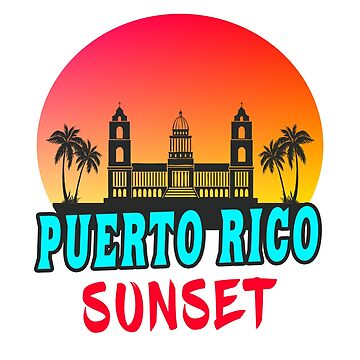 Puerto Rico Sunset Palms Gift by Rocky2018
