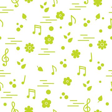 Seamless pattern of notes, flowers, leaves. by aquamarine-p