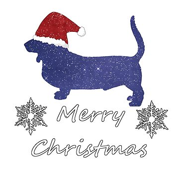 Basset Hound Dog Silhouette - Merry Christmas  by GwendolynFrost