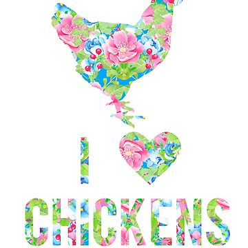 I Love Chickens Floral Hen Silhouette Pink Flowers by LarkDesigns