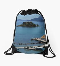 Vlacherna Church. Island of Corfu, Greece Drawstring Bag