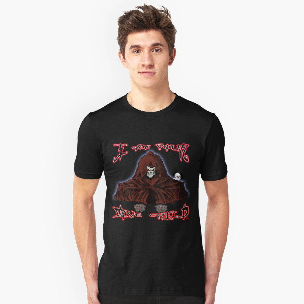 GRIM REAPER AND SIDE KICK/ I AM YOUR LOVE CHILD  Unisex T-Shirt Front