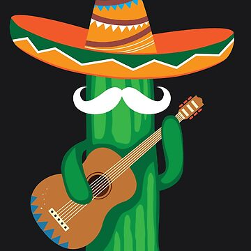 Mustache Cactus Playing Guitar Art Cute Cinco De Mayo Gift by NBRetail