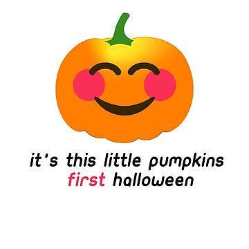 It's this little Pumpkins FIRST Halloween Cute Baby Pumpkin Babies 1st Halloween Costume Outfit T-Shirt by lukeyr1