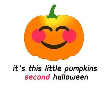 It's this little Pumpkins SECOND Halloween Cute Baby Pumpkin Babies 2nd Halloween Costume Outfit T-Shirt by lukeyr1