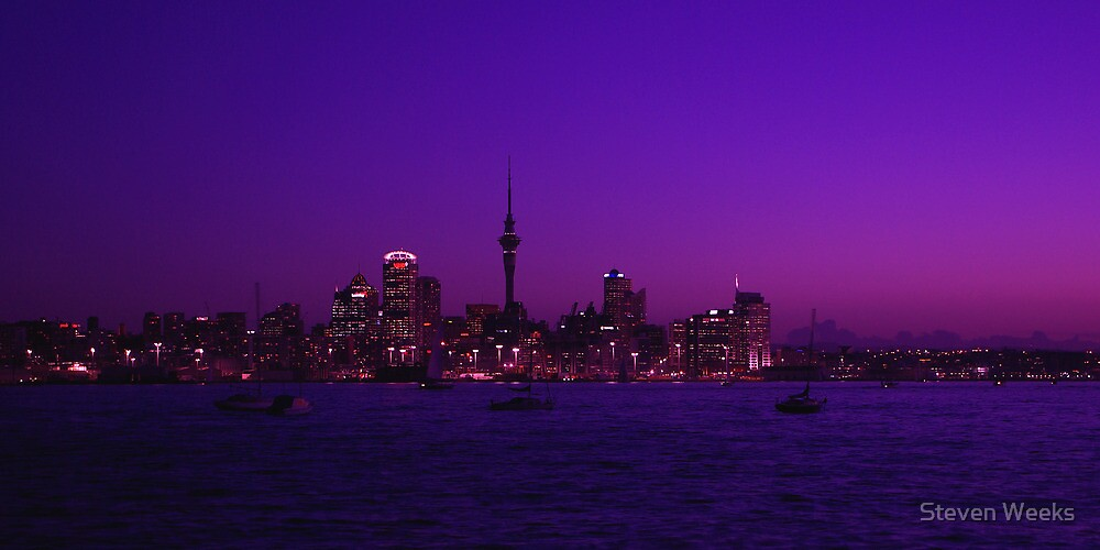 Auckland skyline at sunset by Steven Weeks
