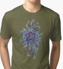 Deep Summer - Watercolor Floral Medallion Tri-blend T-Shirt