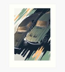 Mustang and Charger race Art Print