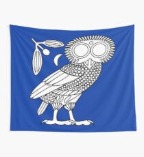 Owl of Athena [White on Blue] Wall Tapestry