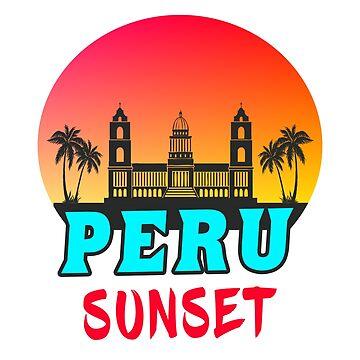 Peru sunset / palms palace gift by Rocky2018