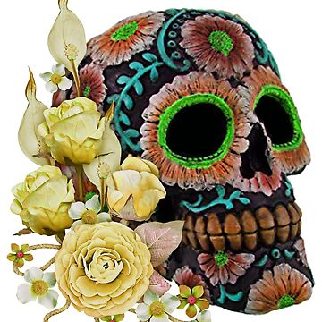 Yellow Floral Black Sugar Skull Day Of The Dead by Atteestude