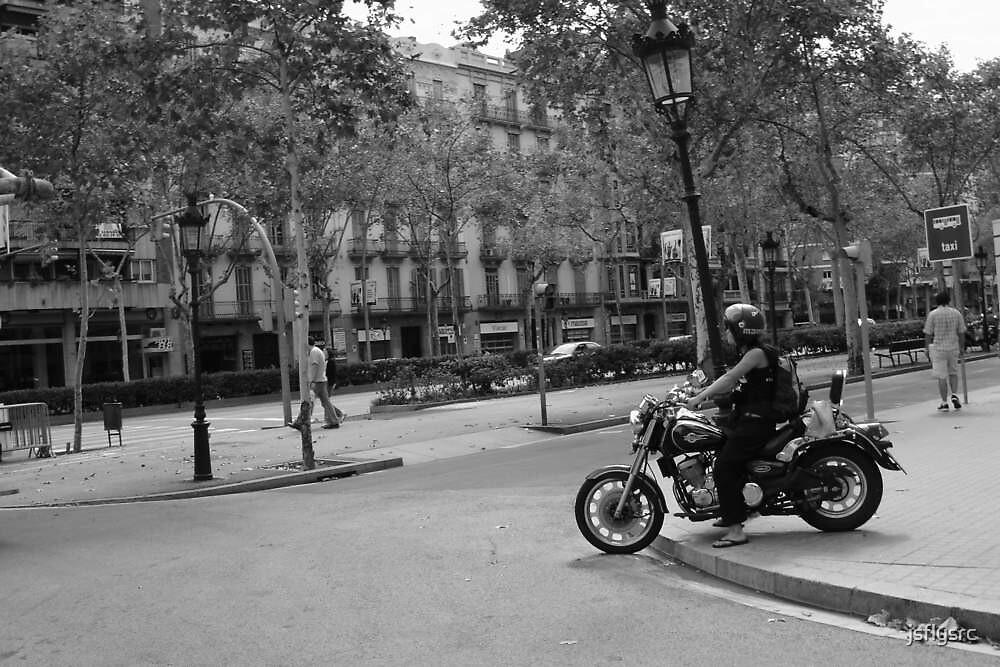 Motorcycle on Sidewalk by jsflysrc