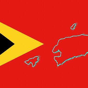 Timor Leste Map with Flag of Timor Leste by Havocgirl