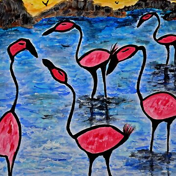 Wading Flamingos by ditempli