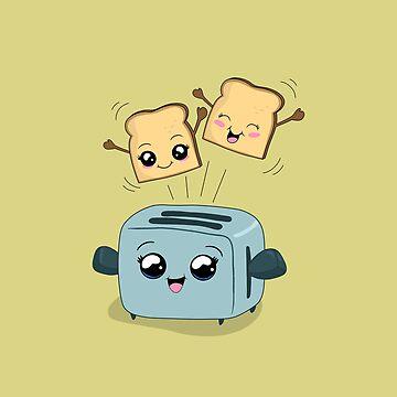 Cute Kawaii Toast and Toaster by ValentinaHramov