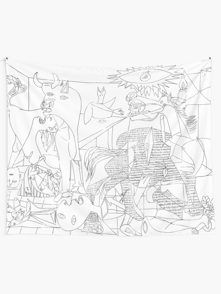 Alternate view of Picasso Line Art - Guernica Wall Tapestry