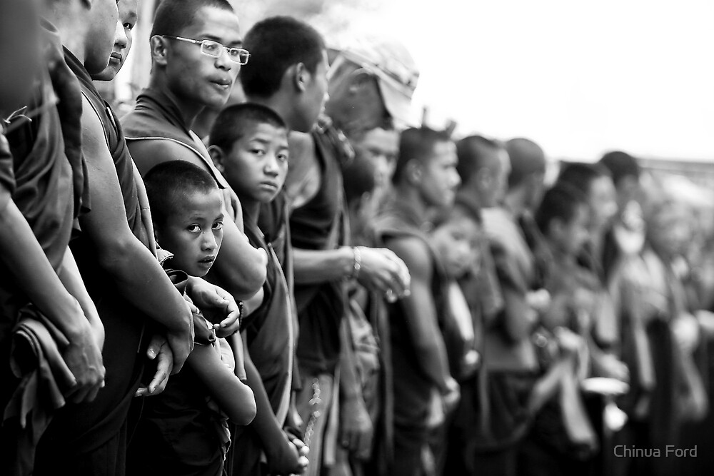Boy Monk in Line - Tibetan Faces by Chinua Ford