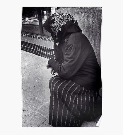 Beggar in Lviv, Ukraine Poster