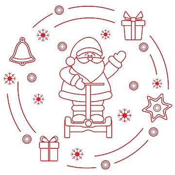Santa Claus on segway, gifts, bell, gingerbread by aquamarine-p